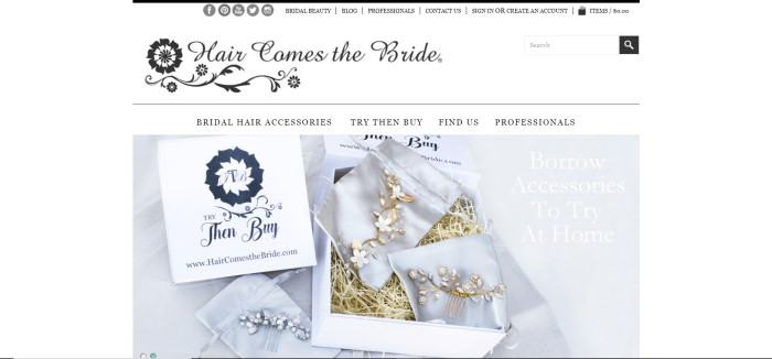 "This screenshot of the home page for Hair Comes The Bride has a white header and navigation bar with black text above a photo of an exquisite hairpiece in gold and white in a white box, next to a white box lid with black text reading ""Try, Then Buy"" and white text on a gray background announcing the Try Then Buy program."