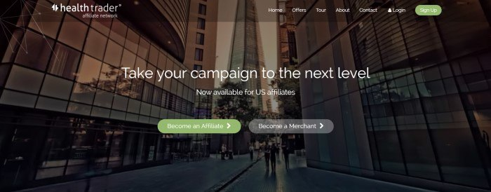"""This screenshot of the home page for Health Trader has a dark filtered photo of a cityscape with tall buildings behind white text that reads """"Take your campaign to the next level."""""""