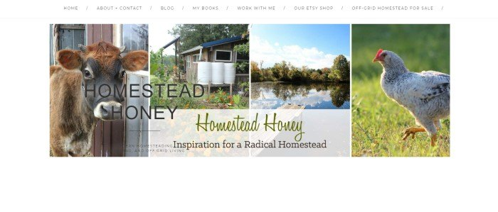 This screenshot of the home page for Homestead Honey has a white navigation bar above a row of homesteading photos showing a brown cow, a brown tiny-home with three white barrels next to it, a pond with a wooden dock and forest around tis edges, and a chicken walking through the grass.