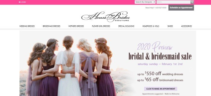 This screenshot of the home page for House Of Brides has a pink search bar header, a white navigation bar, and a photo showing the back of five women in bridal clothing in various shades of purple and white, along with black and purple text announcing a bridal and bridesmaid sale.