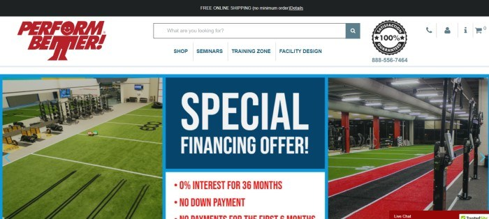This screenshot of the home page for Perform Better has a black free shipping header, a white navigation bar, and two photos of the inside of a gym with several type of weight machines and other workout equipment, behind a box in blue with white text announcing a special financing offer.