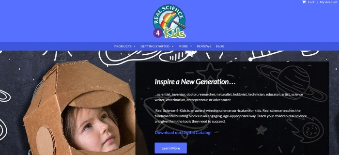 This screenshot of the home page for Gravita Publications has a blue header with a multi-colored logo, white text in the navigation section, and a photo of a young child wearing a helmet made of cardboard, along with a black section with white text inviting customers to learn more about the curriculum program and a blue call-to-action button.
