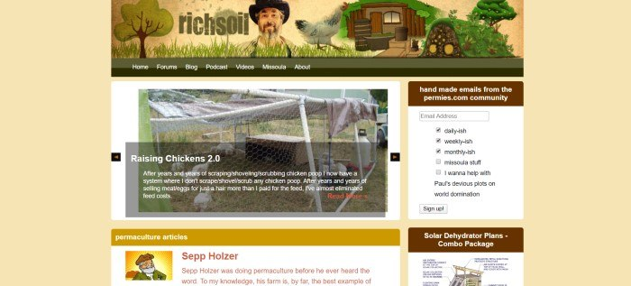 This screenshot of the home page for Rich Soil has a soft yellow background, a graphic header that includes an underground home and a chicken, a green navigation bar, and a photo of chickens in a wire cage, along with white text describing how to raise chickens and a box on the right side of the page for signing up to an email list.