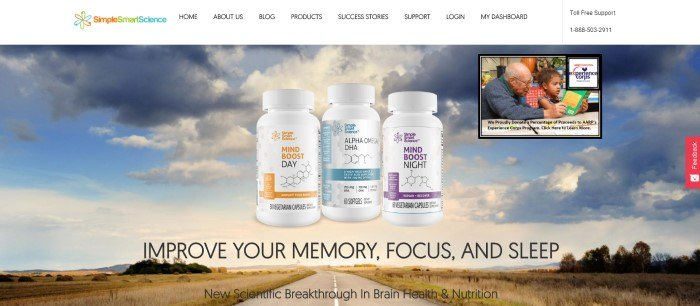 This screenshot of the home page for Simple Smart Science has a white navigation bar above a photo of a blue sky with white and gray clouds behind three bottles of MindBoost and Alpha Omega products, along with black text inviting customers to improve their memory and mood.