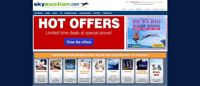 This screenshot of the home page for SkyAuction has a dark blue background, a white header, a dark blue navigation bar, a red section with white text announcing hot offers, a small photo on the right showing two girls diving into the ocean from a boat, and a row of travel-related photos with orange text links for searchable categories such as destinations or cruises.