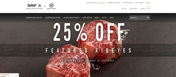 This screenshot of the home page for Snake River Farms shows two cuts of raw beef on a dark cutting board behind white text announcing a 25% discount on Ribeye steaks.