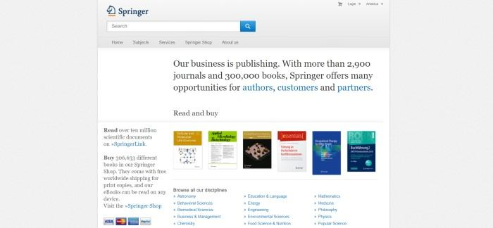 This screenshot of the home page for Springer has a gray background and navigation bar, along with a search bar and blue and orange logo, above a white main section with text in black and blue, a row of some of the book products, and blue text links for navigating to different categories of science books.