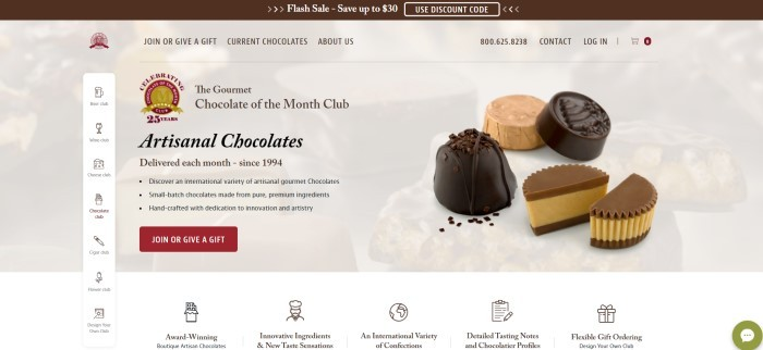 This screenshot of the home page for Gourmet Chocolate of the Month Club includes a white background with a faded picture of various chocolates, behind a pop-out photo of four chocolates net to black text and a maroon call-to-action button introducing artisan chocolates.