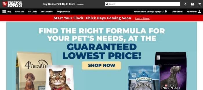 This screenshot of the home page for Tractor Supply has a black header and navigation bar above a red announcement for spring chicks and a light blue main section with white and blue text discussing proper pet foods, along with small product pictures of cat food and dog food.