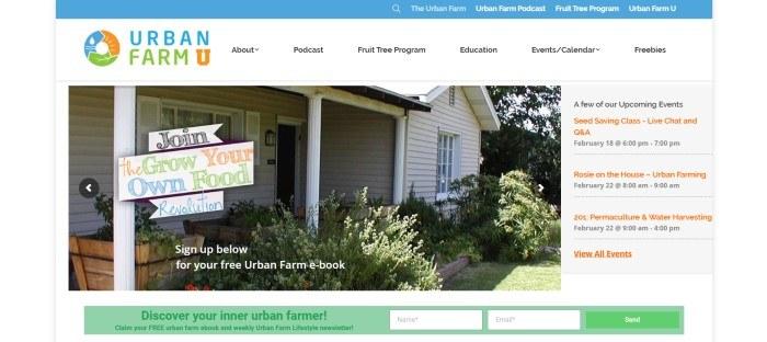 This screenshot of the home page for Urban Farm U has a blue header, a white navigation bar, and a photo of a white house with a porch and a graphic sign inviting people to grow their own food.