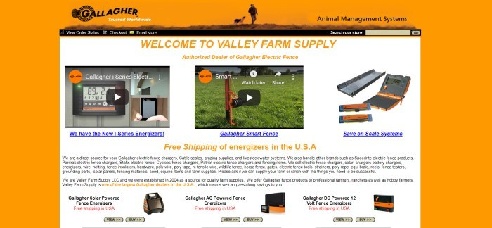 This screenshot of the home page for Valley Farm Supply has an orange background surrounding a white main section with orange and blue text announcing Valley Farm Supply and various products, some of which have video demonstrations above their links, including electrical fencing supplies and scale systems, as well as smaller black text telling more about the company.