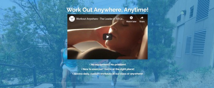 This screenshot of the home page for Workout Anywhere has a blue filtered photo of a woman in white shorts and a blue tank top running on a path near some trees, behind a video screenshot of a woman doing sit-ups and white text inviting customers to work out anywhere, anytime.