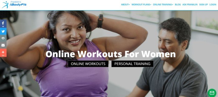 This screenshot of the home page for iBodyFit has a white navigation bar with blue text above a photo of a smiling dark-skinned woman in a purple tank top doing sit-ups, along with white text announcing online workouts for women and two call-to-action buttons.