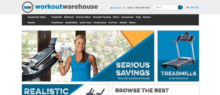This screenshot of the home page for Workout Warehouse has a gray header, a black navigation bar with white text, a photo of a smiling blonde woman in blue exercise clothing standing near a sophisticated-looking exercise machine, and savings announcements in blue sections with white lettering, including one with a photo of a treadmill.