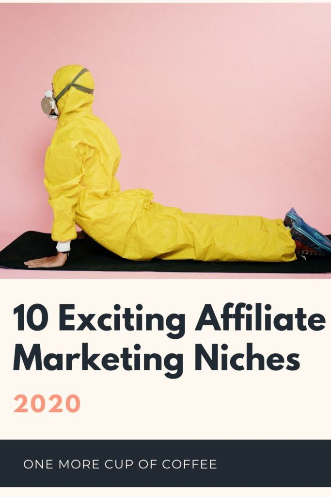 woman in hazmat suit doing yoga on a pink bakcground to represent 2020 affiliate niches