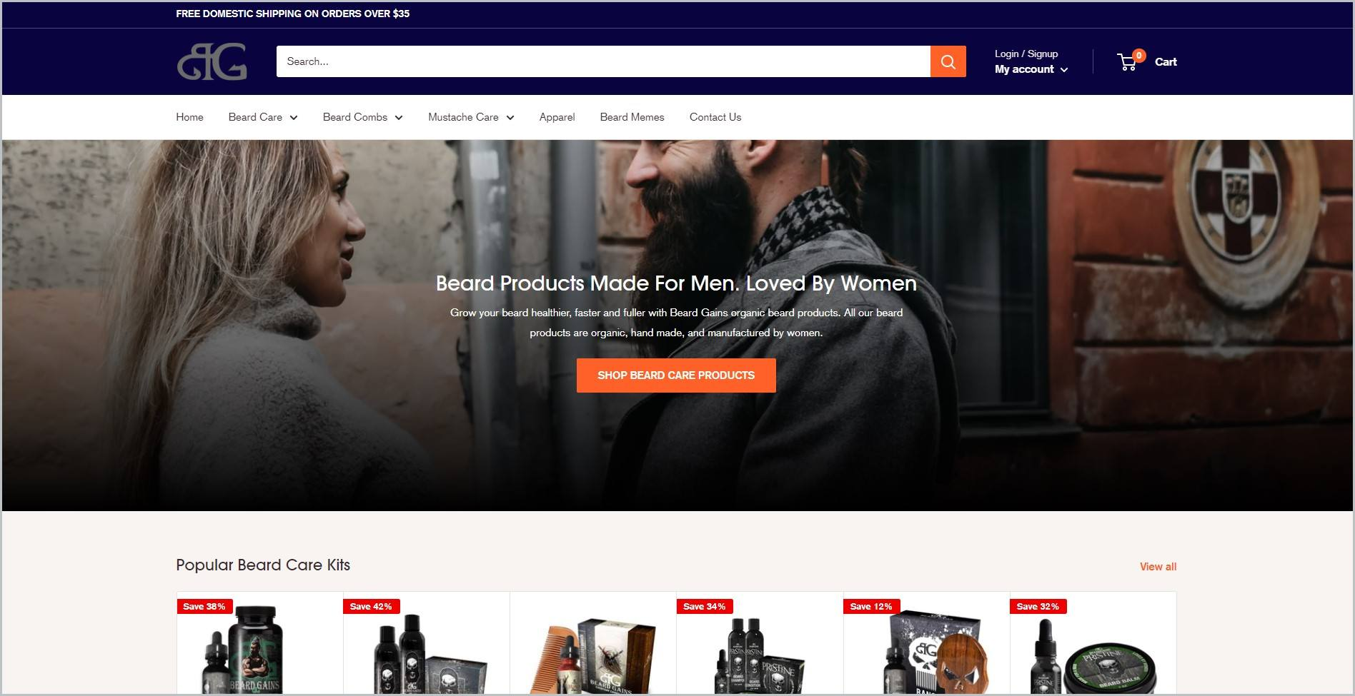 screenshot of Beard Gains homepage with the dark blue header bearing the website's name and main search bar, it showcases an image of a woman and freshly groomed bearded man and images of some of the website's products