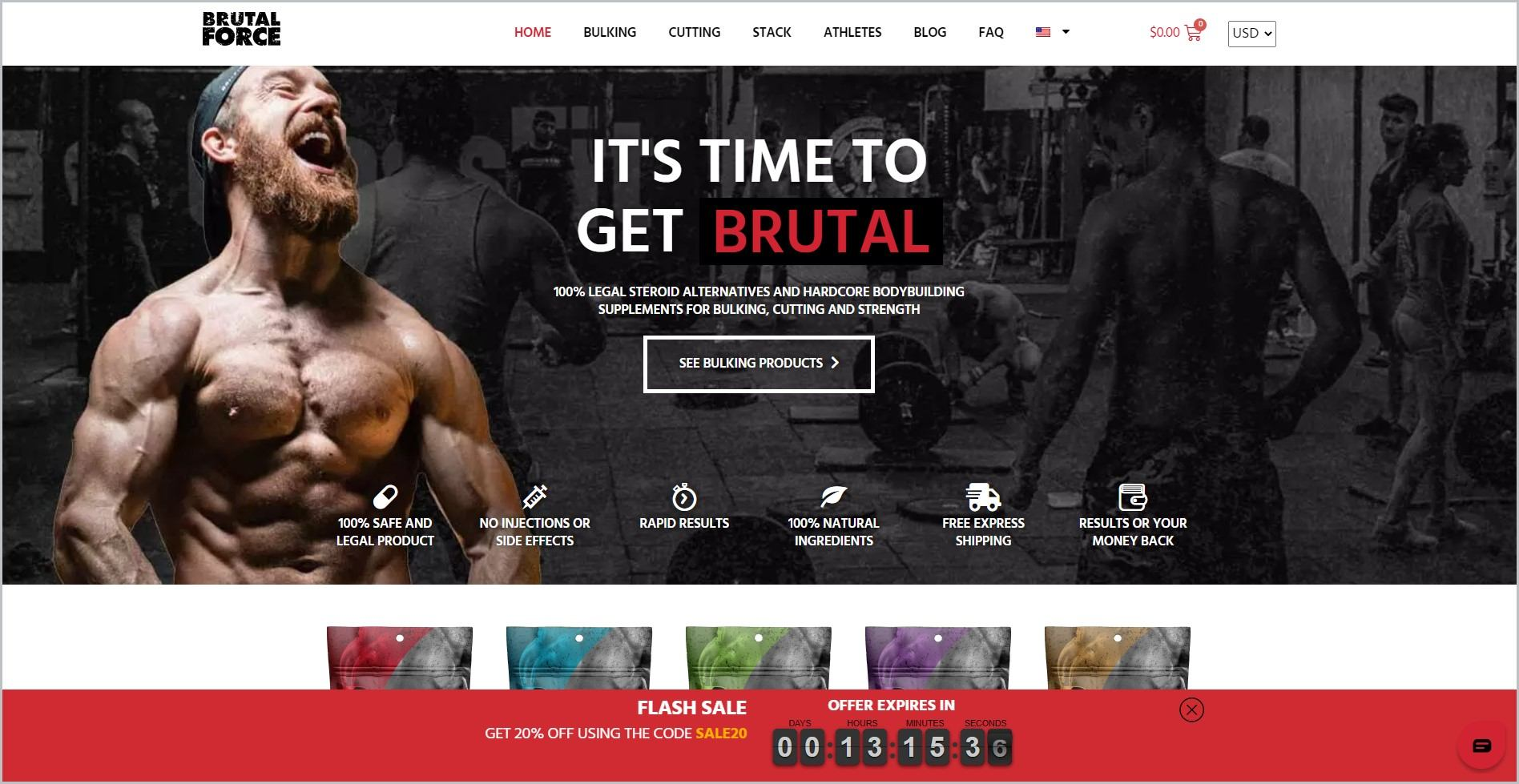 screenshot of Brutal Force homepage, with white header bearing the website's name and main navigation menu, it also showcases an image of a laughing man flexing his muscles