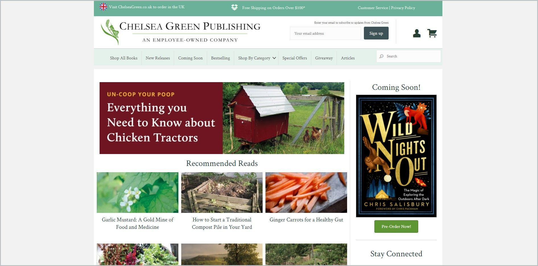 screenshot of Chelsea Green homepage, with a green announcement bar, white header with the website's name and search bar, underneath is the light-green main navigation bar, it showcases images of some of the titles the website carry