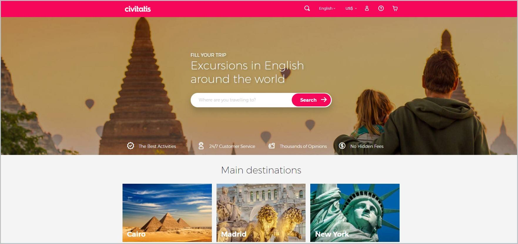 screenshot of Civitatis homepage, with pink header with the website's name and main navigation bar