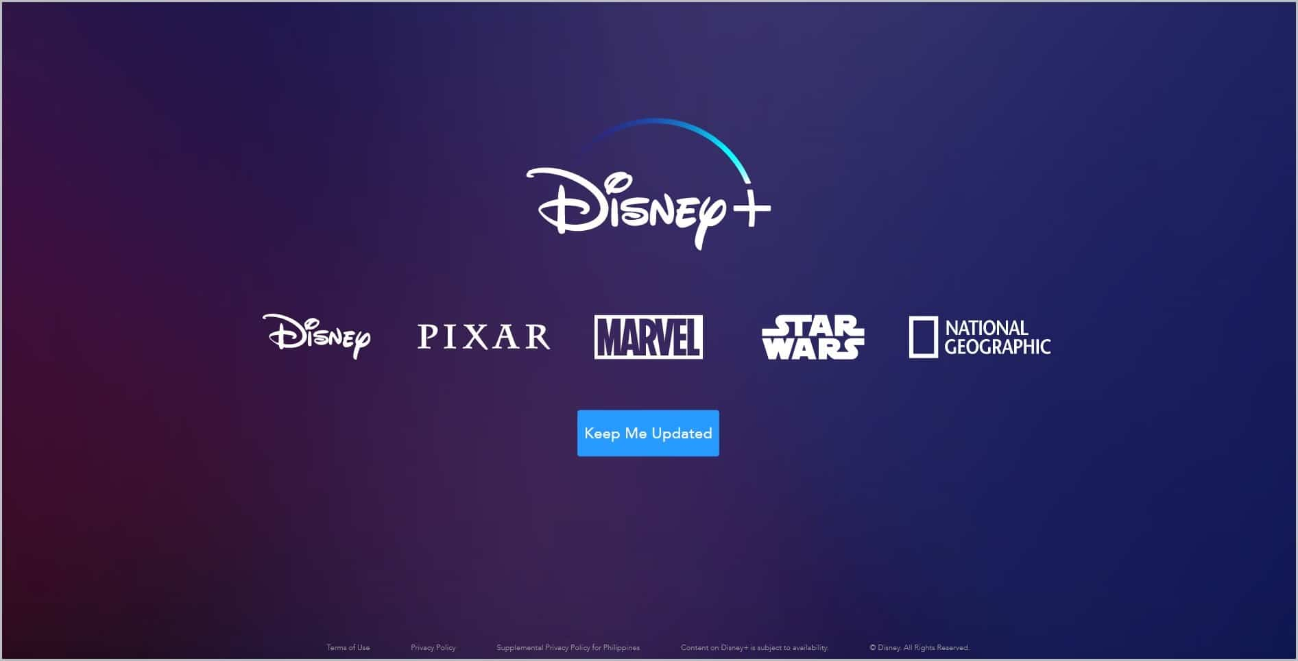screenshot of Disney+ homepage, page is dominantly dark blue with name and logo of Disney, Pixar, Marvel, and National Geographic