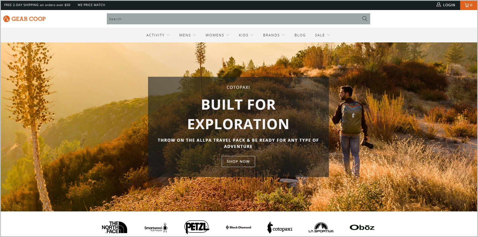 screenshot of Gear Coop homepage, with white header with the website's name and main navigation menu, it showcases an image of a man hiking along the mountain