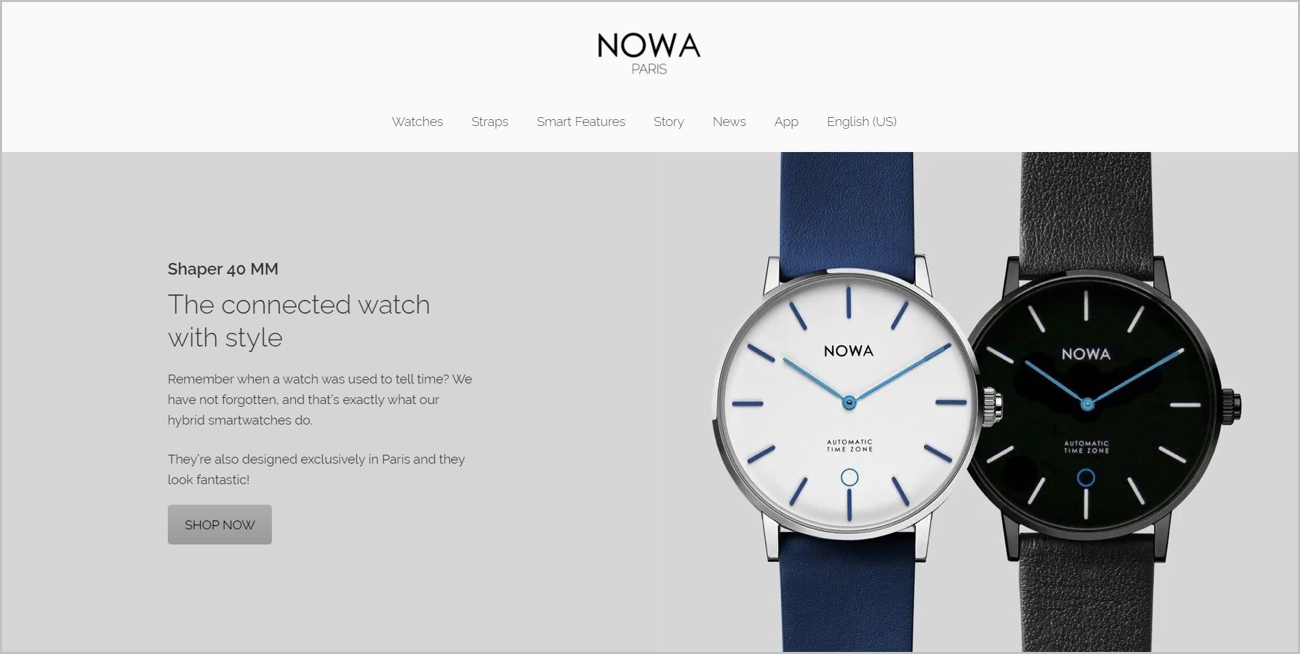 screenshot of NOWA Watch homepage, with white header bearing the website's name and main navigation menu, it showcases an image of a couple of watches