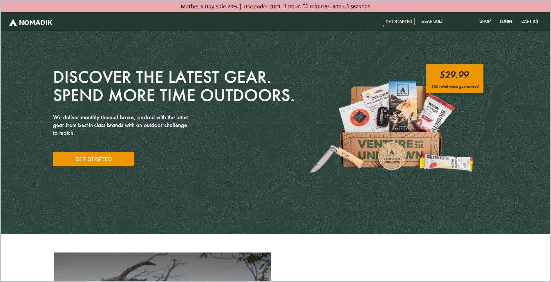 screenshot of Nomadik homepage, with peach announcement bar and dominantly dark-green layout, it showcases an image of one of their monthly packages