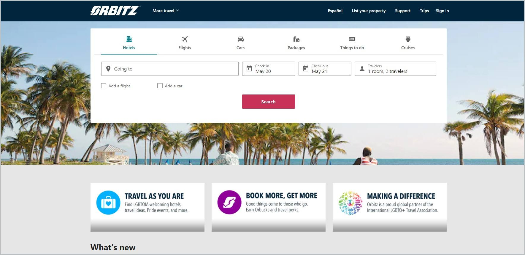 screenshot of Orbitz homepage with black header with the website's name and main navigation menu