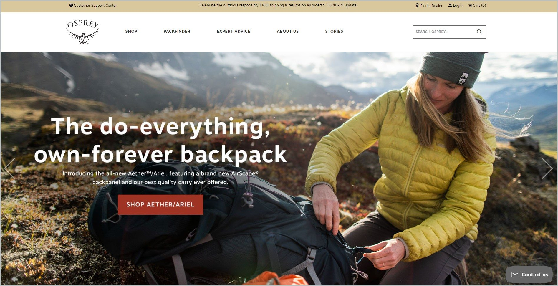 screenshot of Osprey homepage, with pale mustard-colored announcement bar, white header with the website's name and main navigation menu, and showcasing an image of a woman outdoors fixing her backpack with text overlay