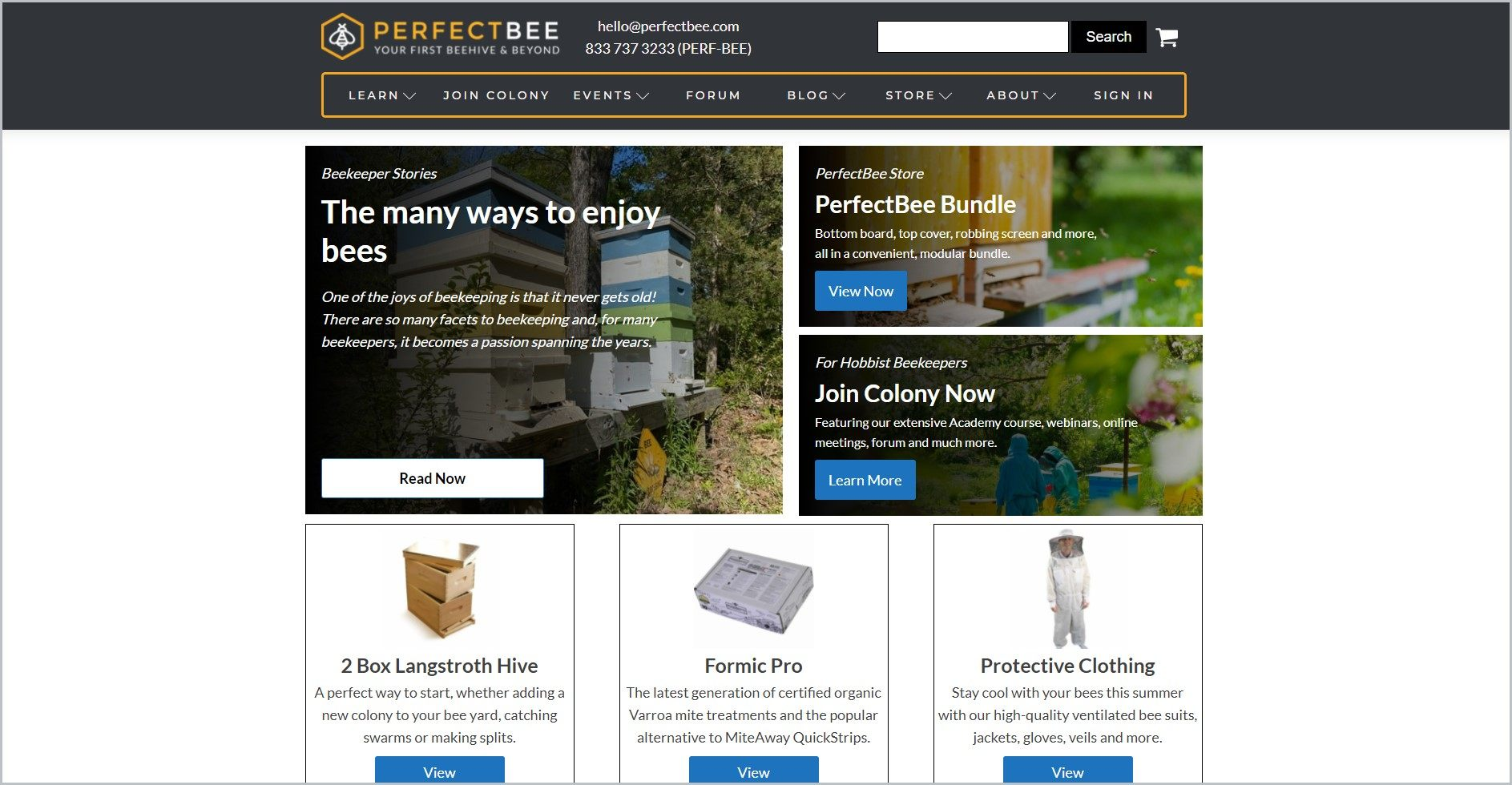 screenshot of PerfectBee homepage, with black header with the website's name and main search bar, underneath is the black main navigation bar with yellow outline, it showcases images of some of the website's store products