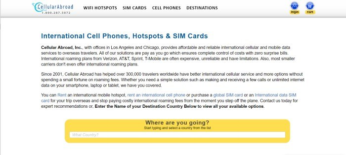 This screenshot of the home page for Cellular Abroad has a gray navigation bar above a white text section with lettering in blue and black describing international cell phones, hotspots, and SIM cards, as well as a yellow search bar asking where the customer will be traveling.