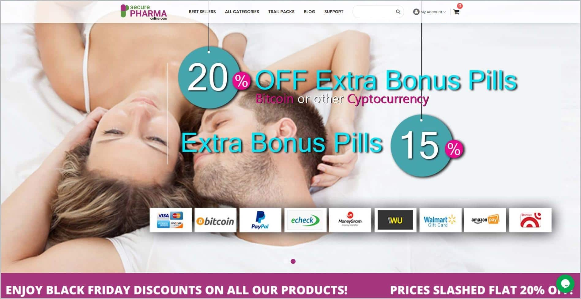 screenshot of SecurePharamonline homepage with white header with the website's name with main navigation bar, it showcases a top view image of a man and woman lying down
