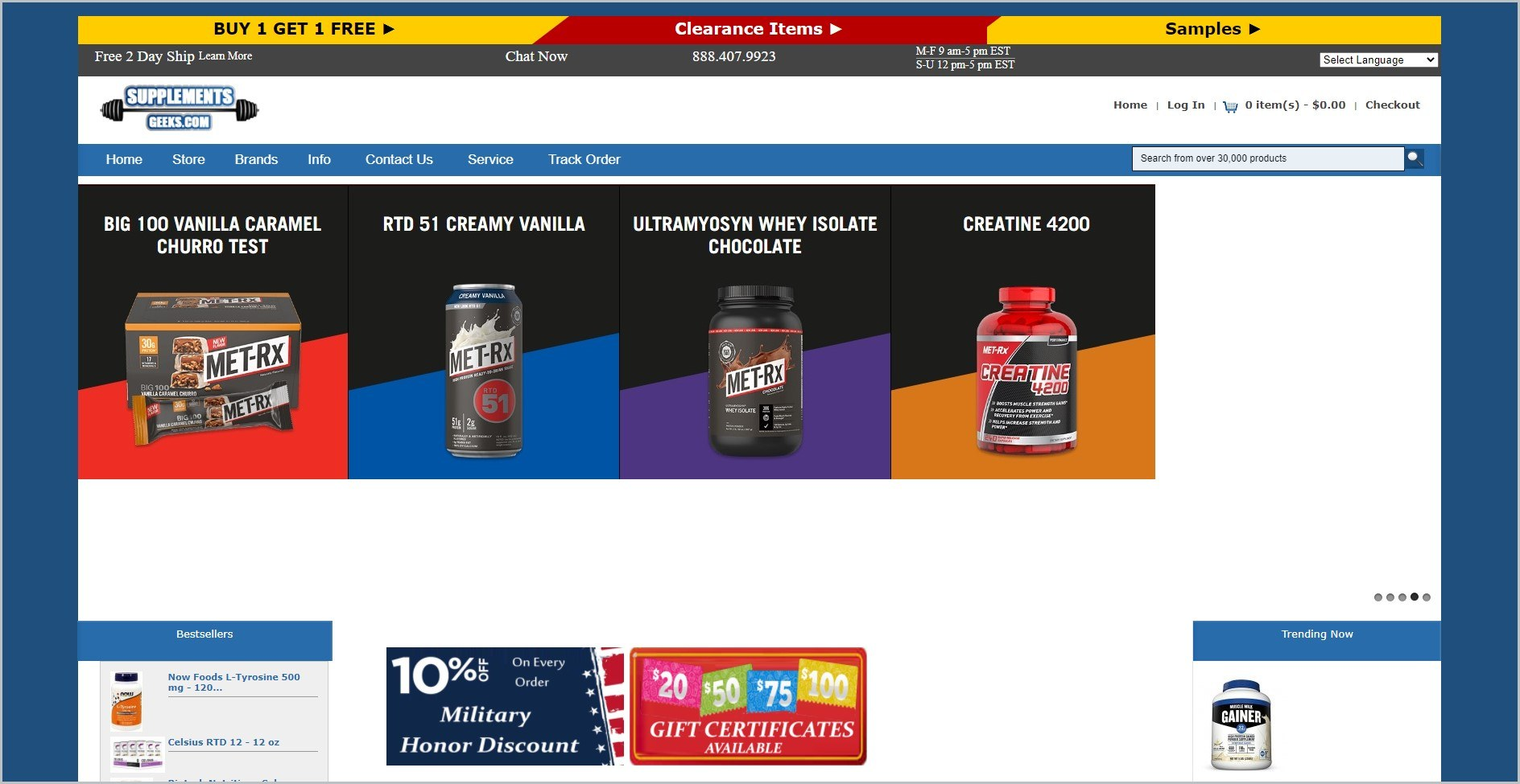screenshot of SupplementsGeeks.com homepage with white header bearing the website's name and blue navigation bar underneath it, with images of some of their supplements products
