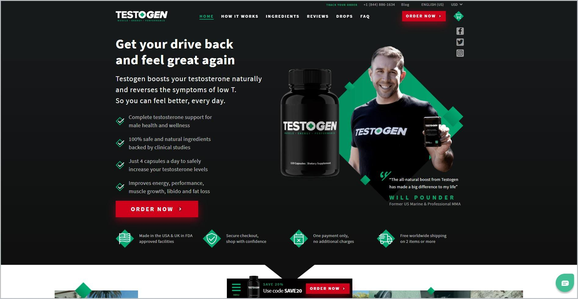 screenshot of Testogen homepage with black header with the website's name and main navigation menu