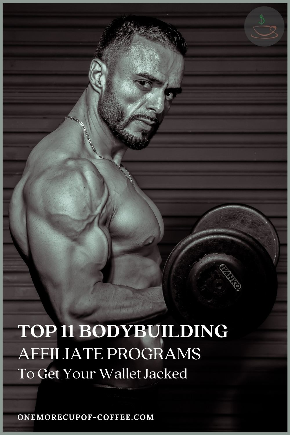 topless bearded man, flexing his muscles while weightlifting; with text overlay