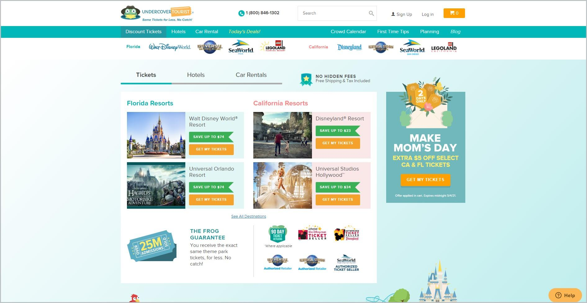 screenshot of Undercover Tourist homepage, with white header with the website's name and other company information, underneath is a blue-green main navigation bar