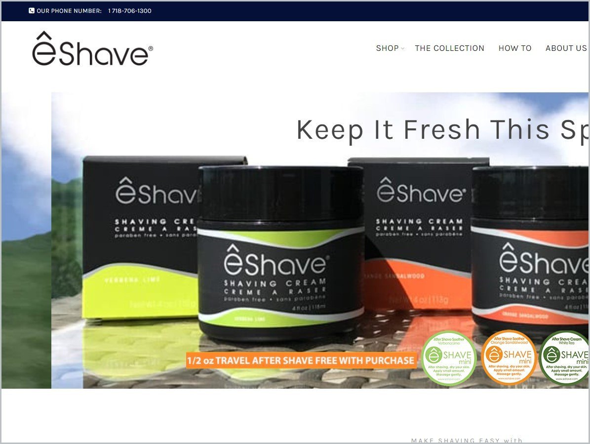 screenshot of eShave homepage, with black announcement bar, white header bearing the website's name and main navigation menu, it showcases an image of some of the brand's products