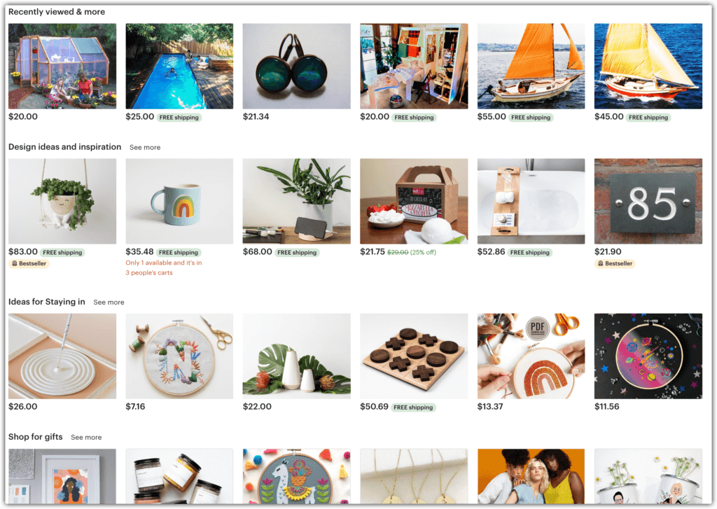 etsy store examples