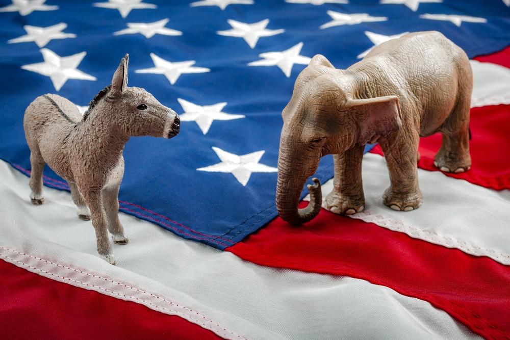 republicans vs democrats elephant vs donkey on american flag
