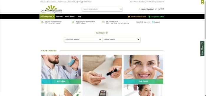 This screenshot of the home page for All Day Chemist has a white header with a primary navigation bar, a black secondary navigation bar, and a white background in the main section with a row of photos with text showing a few categories available, such as a man with an inhaler behind the word 'Asthma,' a photo of a man's hands taking a blood sample for diabetes, and a photo of a smiling woman pointing to her brown eyes behind the words 'Eye care.'