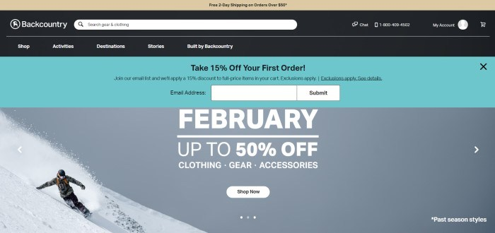 This screenshot of the home page for Back Country has a tan header announcing free shipping, a black search bar and navigation bar, an aqua section with black text inviting visitors to take 15% off their order, and a large photo of a snowboarder coming down a mountainside, along with white text announcing a February sale.
