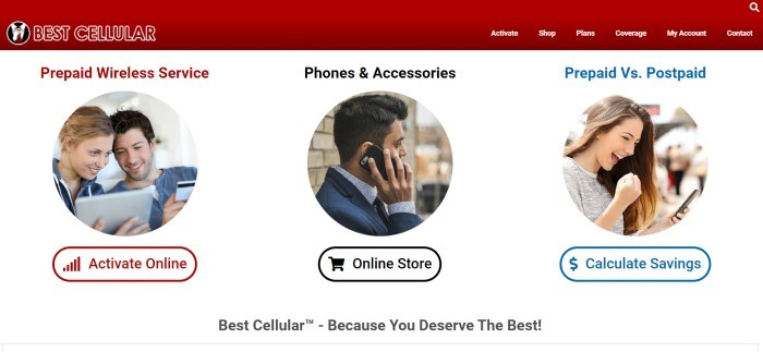 This screenshot of the home page for Best Cellular has a red navigation bar above a white section with three circular photos of smiling people on cell phones and tablets, along with text in red, black, and blue for each respective photo announcing prepaid wireless service, phones and accessories, and prepaid vs postpaid plans.