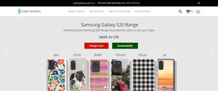 This screenshot of the home page for Case Station has a black header, a white navigation bar, and a gray section showing several multicolored cell phone cases, along with black text announcing Samsung Galaxy cases and two call-to-action buttons: one in red, and one in dark green.