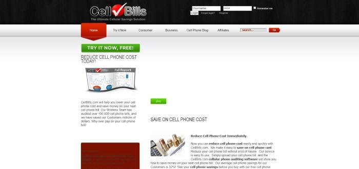 This screenshot of the home page for Cell Bills has a dark header, a light gray navigation bar, and a white main section with black text announcing reduced costs for cell phones, along with two green call-to-action buttons, a small image of a cell phone audit report, and a small image showing a stack of coins next to a calculator.