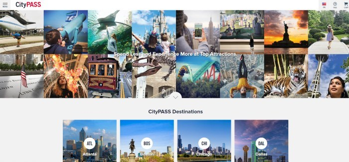 This screenshot of the home page for CityPASS has two rows of photos showing different North American attractions, including Disneyland and the Statue of Liberty, above a gray section with the words