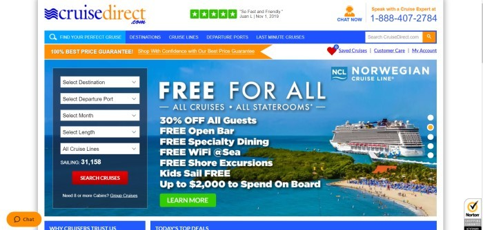 This screenshot of the home page for Cruise Direct has a white header with orange and blue elements, a blue navigation bar, an orange price guarantee bar, and a large photo showing a cruise ship near a beach in a tropical setting, along with white words describing cruise features and a search box on the left side of the page finding cruises by destination, departure port, month, length, or cruise line, along with a red call to action button.