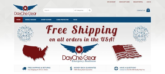 This screenshot of the home page for Day One Gear has a gray background with blue and burgundy elements throughout the page, including a blue and burgundy navigation bar above the main section which announces free shipping on all orders in the United States, as well as a 100% money back guarantee.