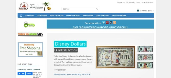 This screenshot of the home page for Disney Collectors Club has a white search bar, a blue navigation bar, and sections in white, blue, and gray with text announcing social media connections, free shipping, order tracking, and the ability to collect Disney Dollars, which sits beside four photos showing examples of Disney dollars, which look like multicolored currency bills featuring Mickey Mouse or other Disney characters rather than United States presidents.