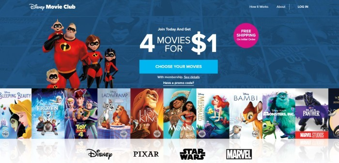 This screenshot of the home page of Disney Movie Club has a dark blue background with white text announcing four movies for $1, along with an image of the Incredibles family, a light blue call to action button, and a pink circle with white text announcing free shipping, which is all above a row of images depicting various Disney movies such as the Lion King and Bambi.