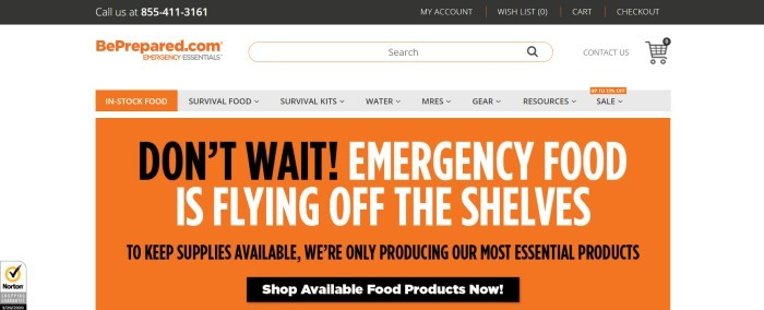 This screenshot of the home page for Emergency Essentials has a black header above a white search bar and a gray navigation bar, both with orange elements, and an orange main section with text in black and white urging customers not to wait to get emergency food because it is flying off the shelves.